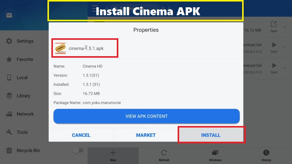 Install cinema apk